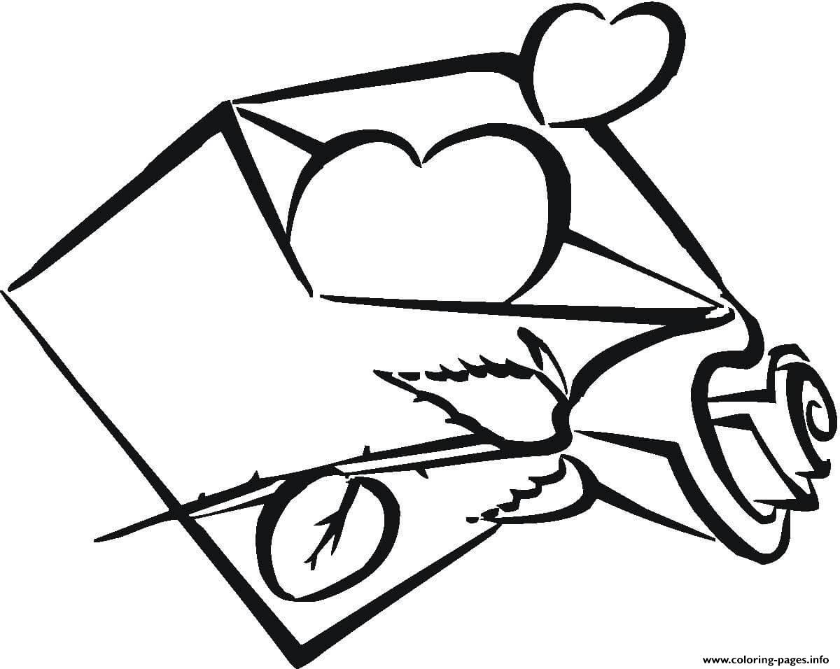 My Heart Is In Envelope coloring pages