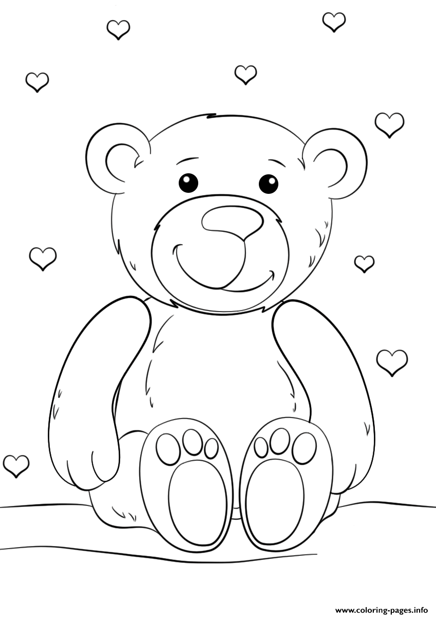 Teddy Bear Valentines Love Heart Coloring Pages Printable