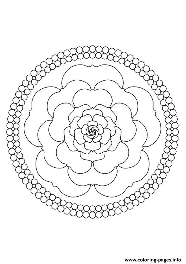 A Mandala Rose A4 coloring pages