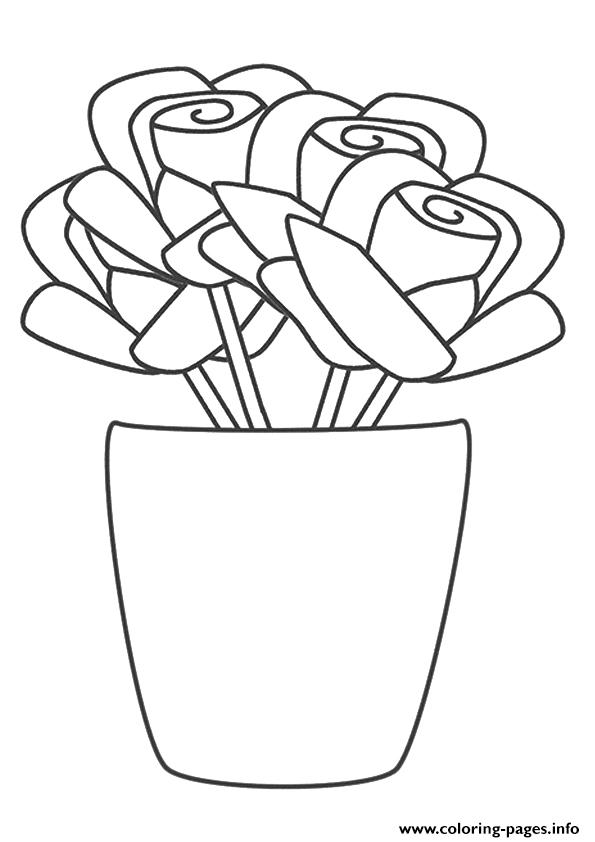 A Rose Vase A4 coloring pages