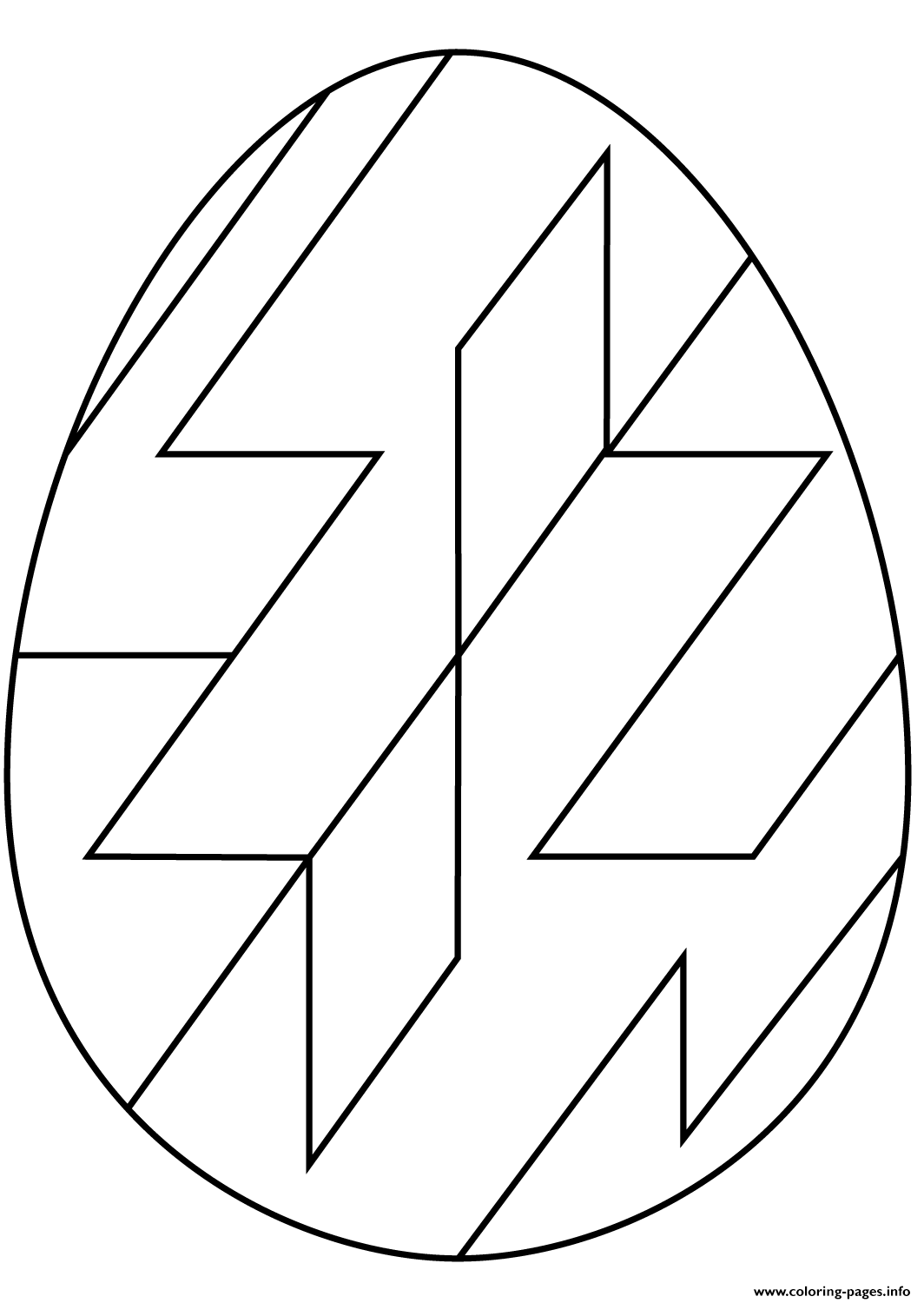 Easter Egg With Abstract Geometric Pattern Coloring Pages