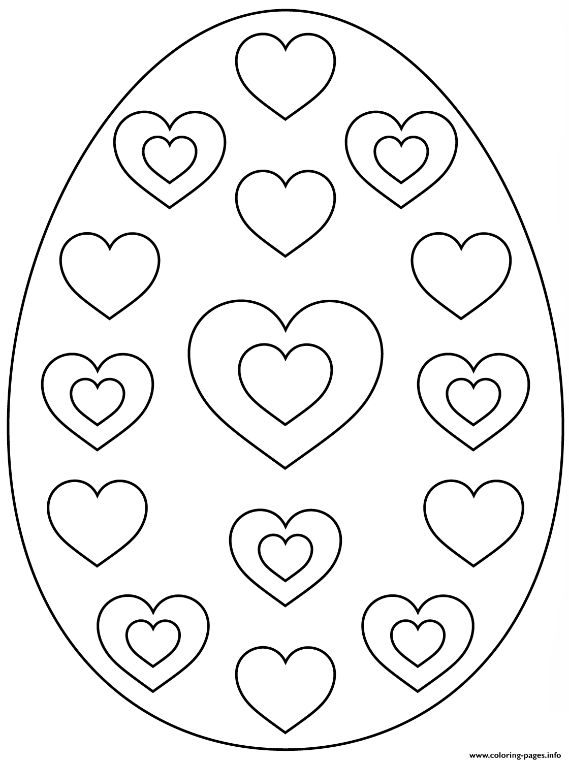 Easter Egg With Hearts Coloring Pages Printable