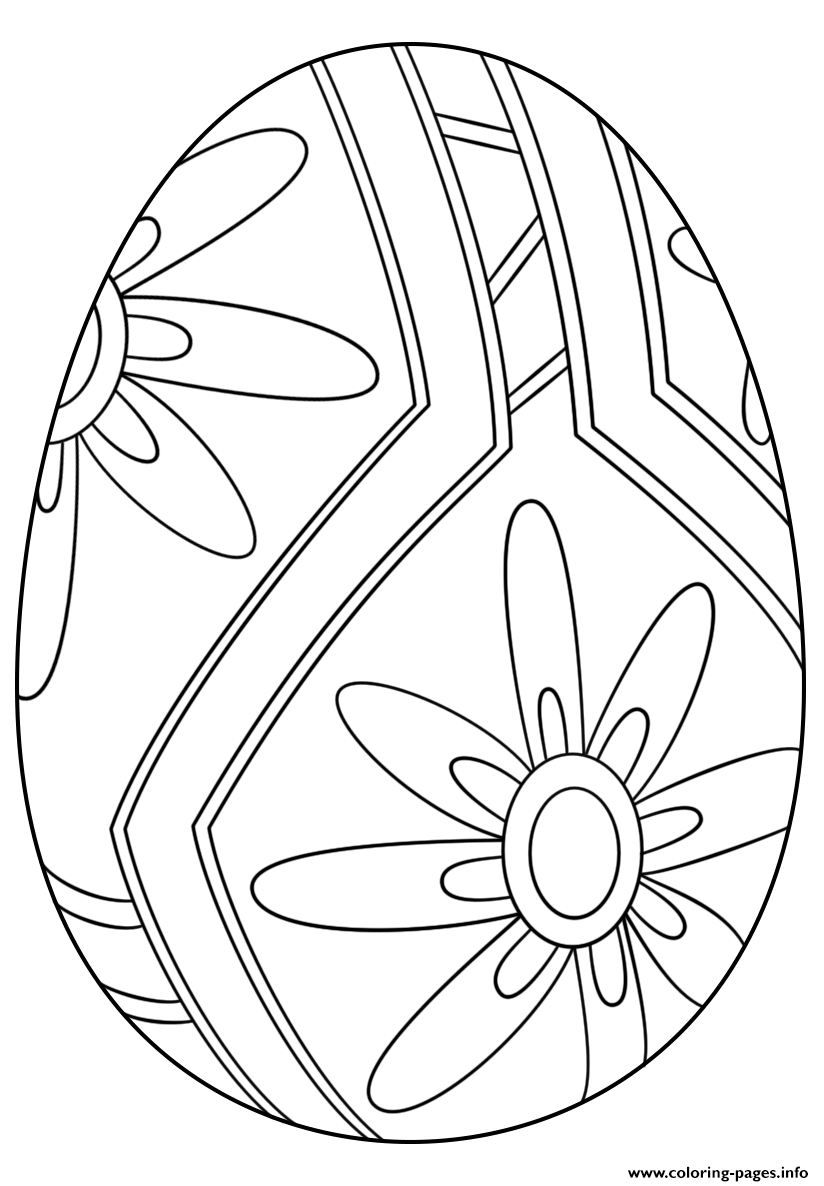 Easter Egg With Flower Pattern 1 coloring pages