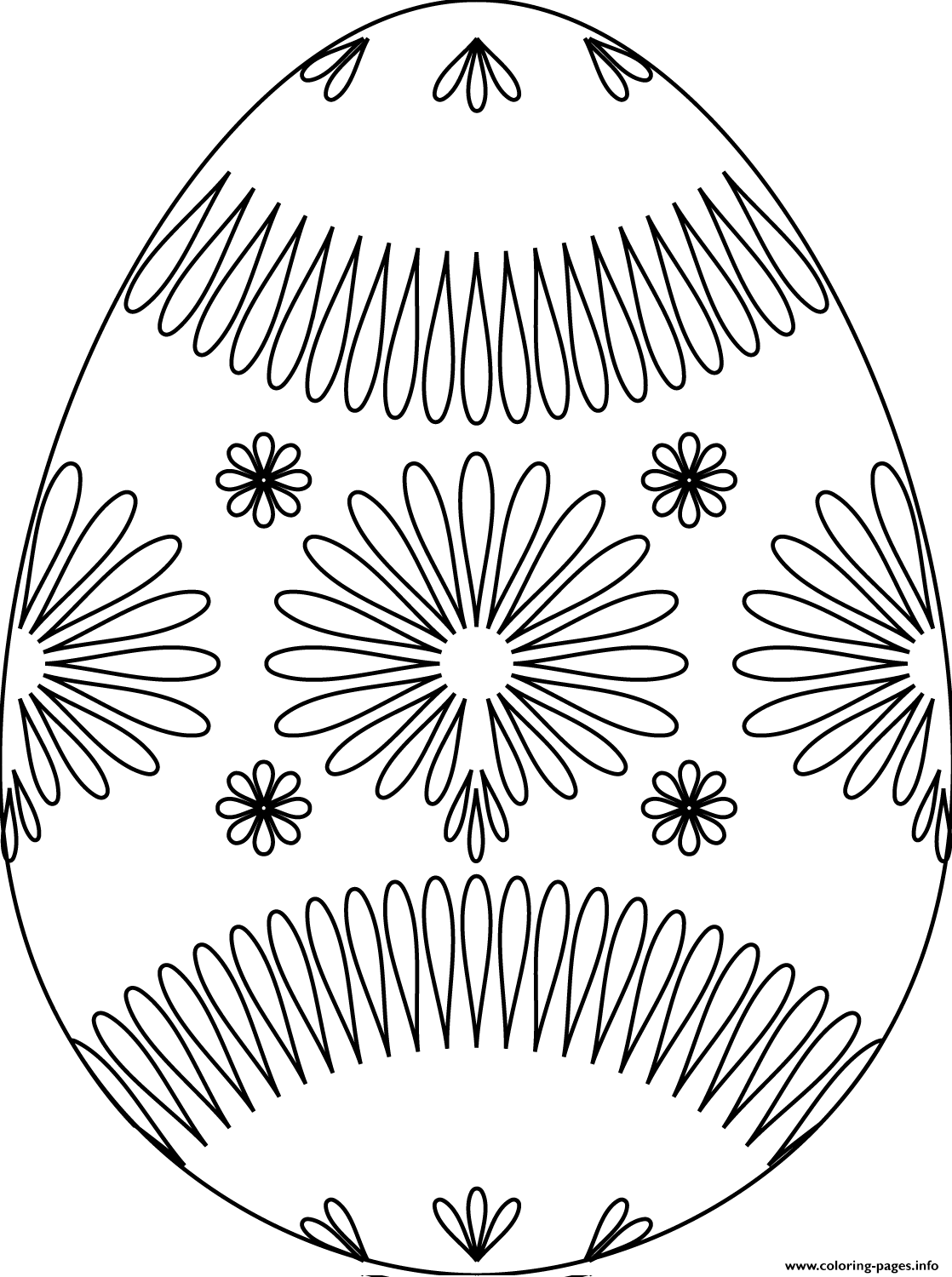 Easter Egg With Flower Pattern coloring pages