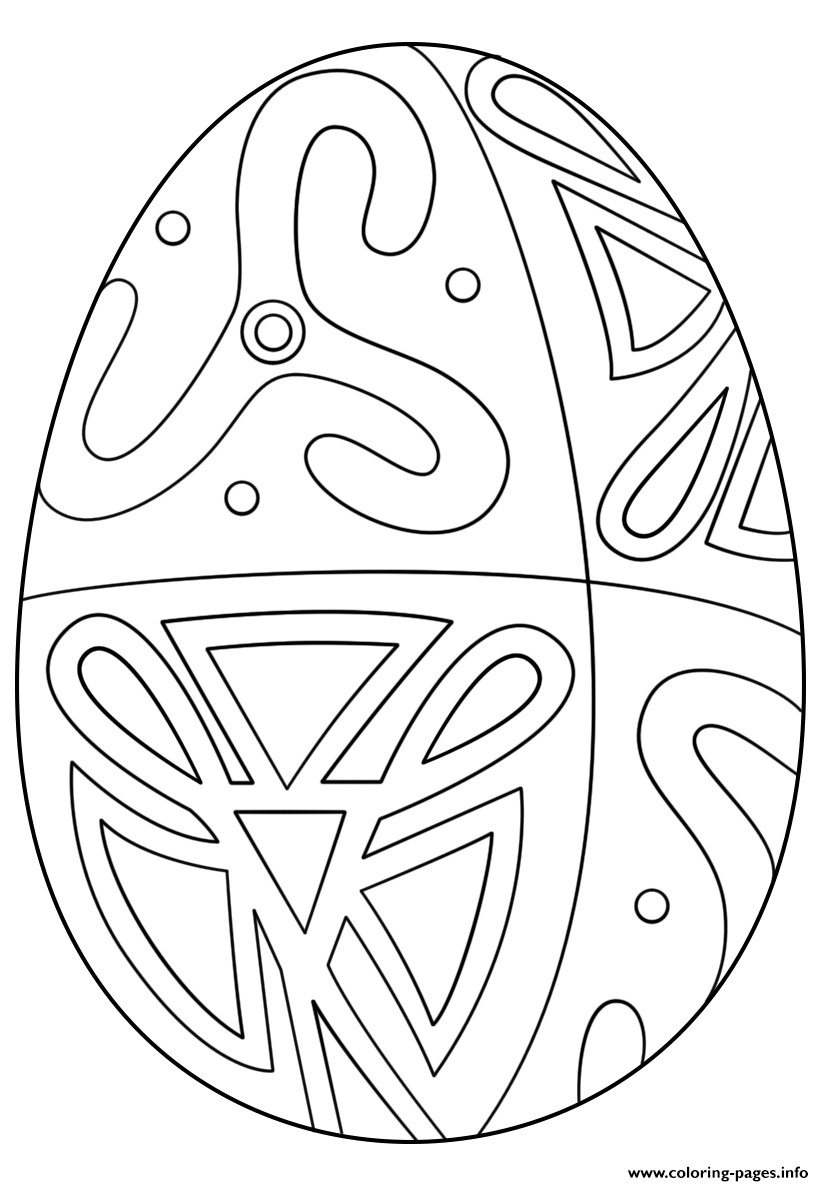 Easter Egg With Folk Pattern Coloring Pages Printable