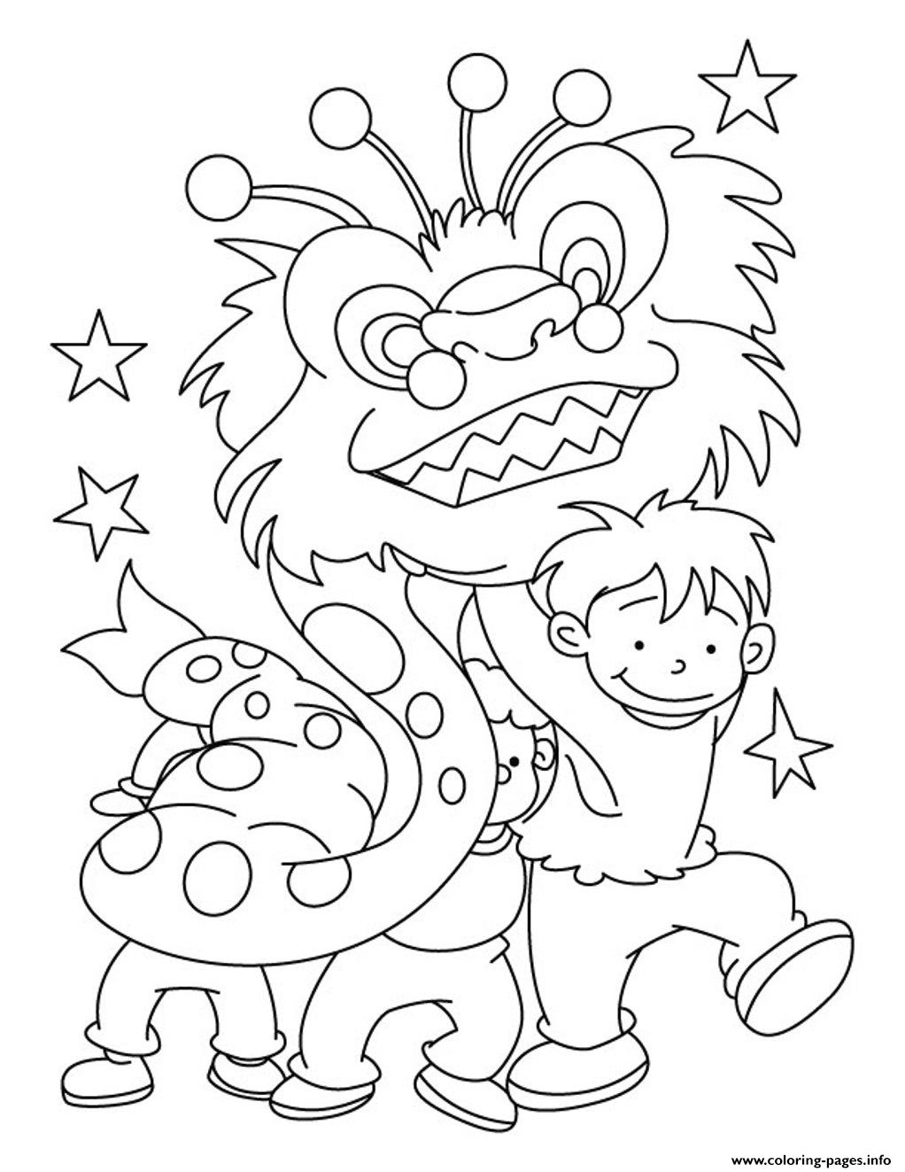 Dragon Chinese New Year Kids Coloring Pages Printable