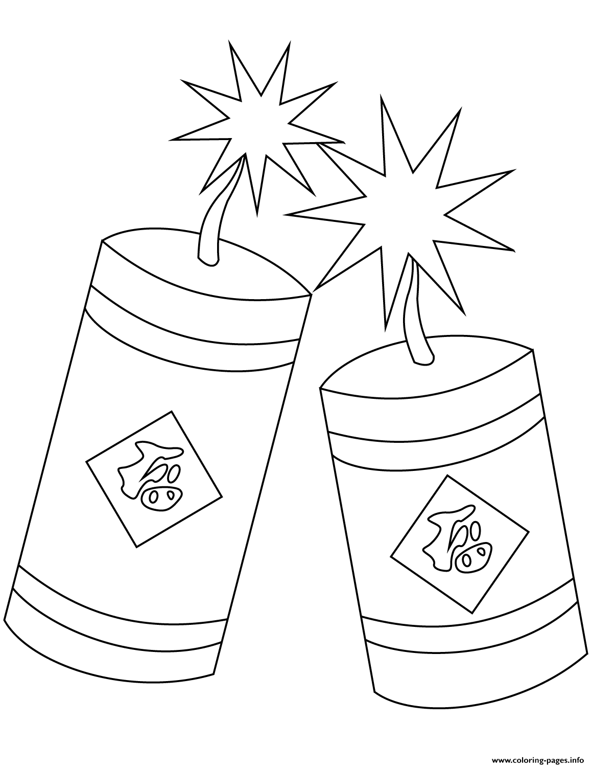 Chinese New Year Firecrackers Coloring Pages