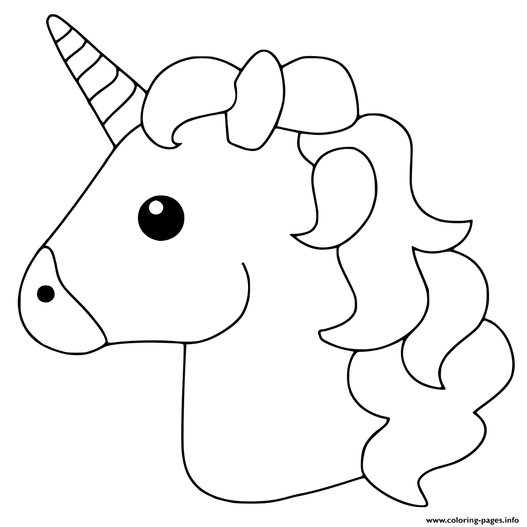 Unicorn emoji coloring pages printable