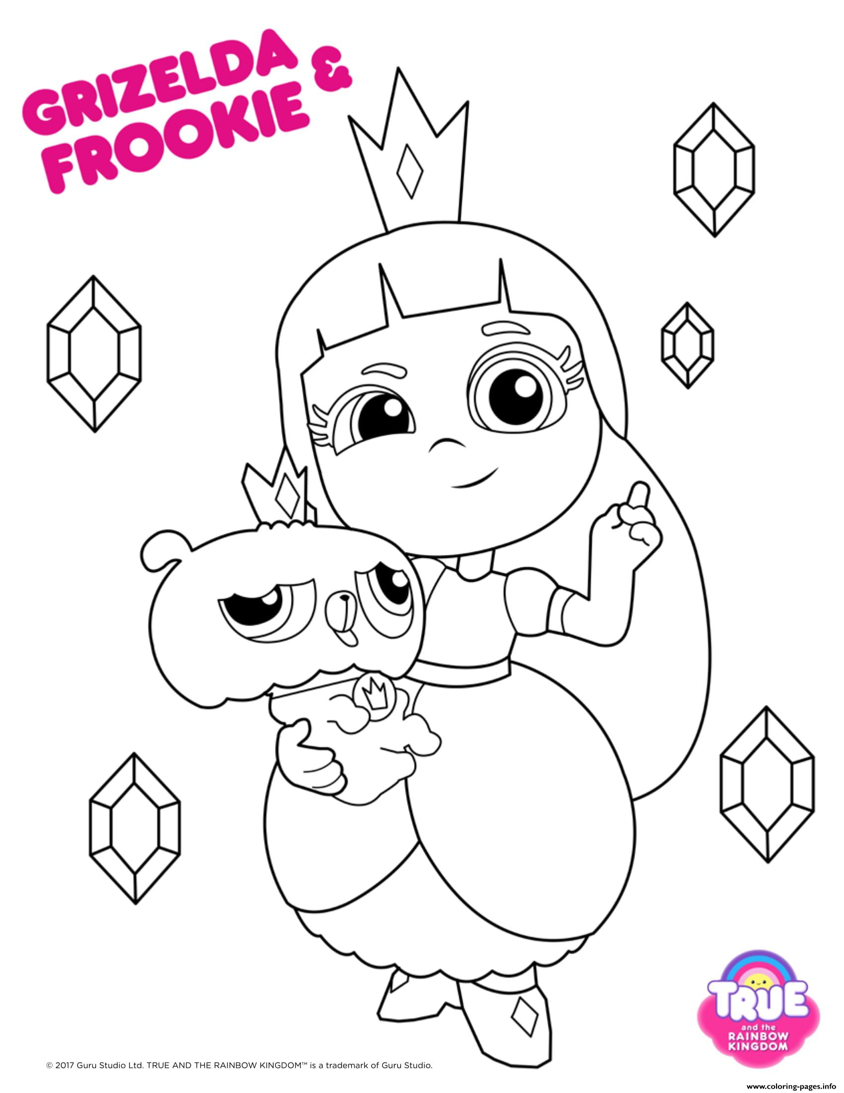 Grizelda frookie 1 true and the rainbow kingdom coloring pages printable