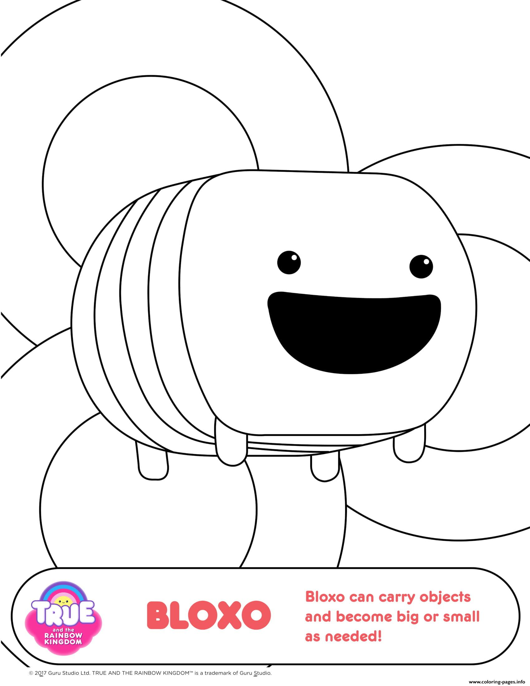 Bloxo 1 true and the rainbow kingdom coloring pages printable