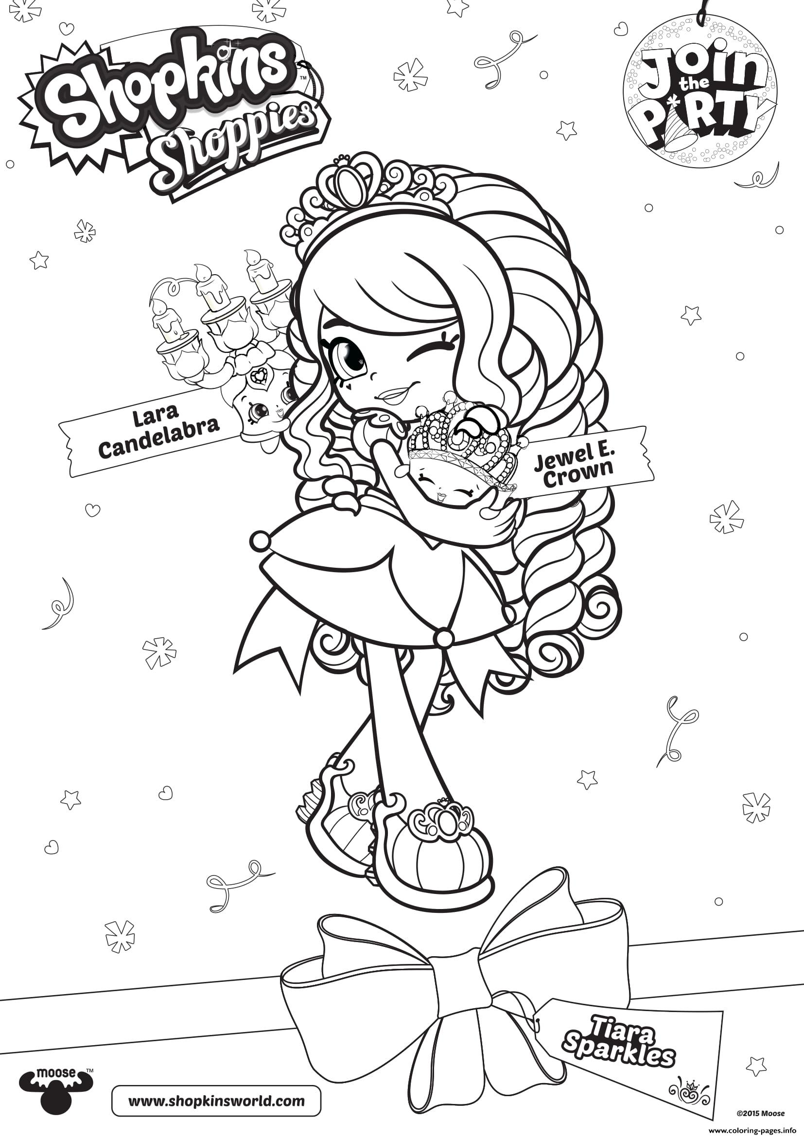 Shopkins Shoppies Join The Party Lara Candelabra Jewel Crown Coloring Pages Printable