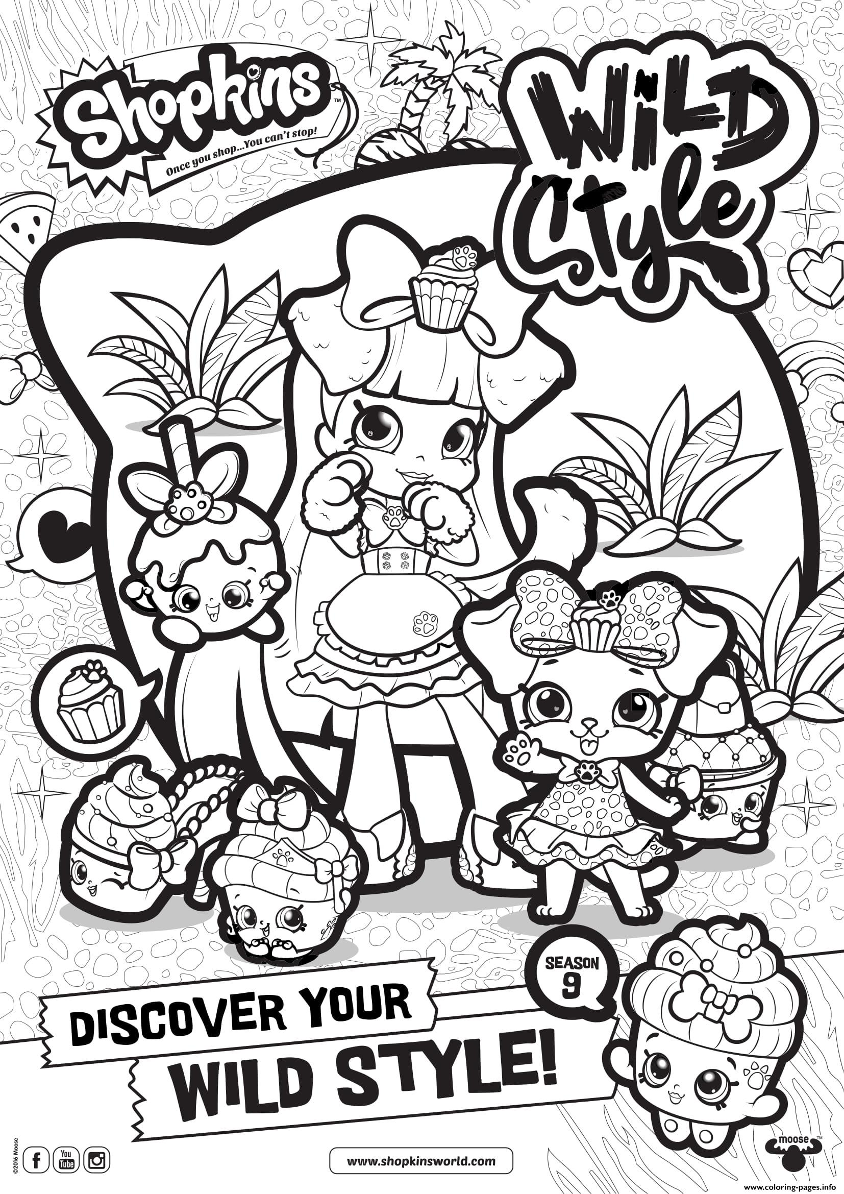 Shopkins Season 9 Wild Style 8 Coloring Pages Printable