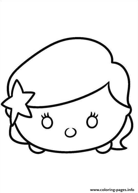Ariel Face Tsum Tsum Coloring Pages Printable