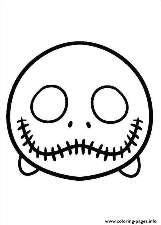- Jack Stellington Face To Color Tsum Tsum Coloring Pages Printable