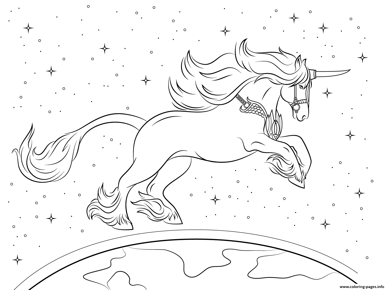 Beautiful Unicorn Planet Universe coloring pages