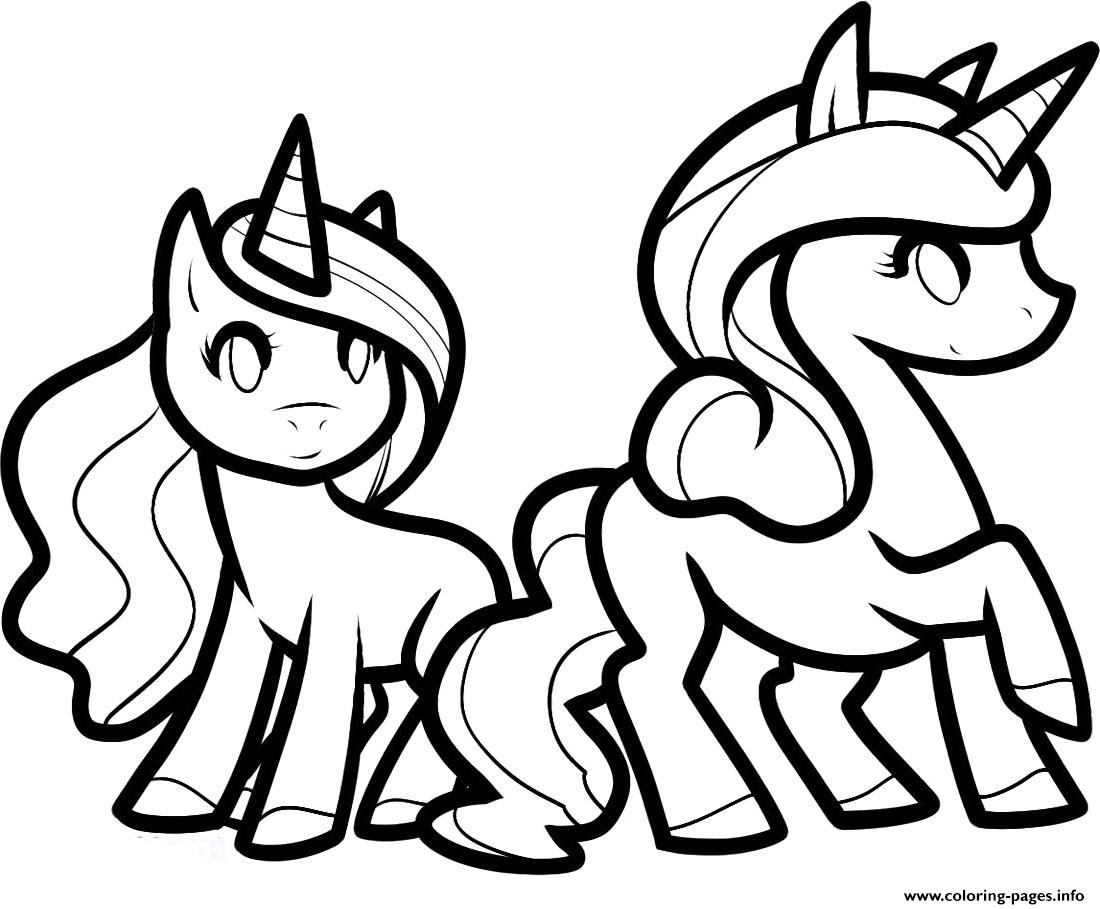 Two princess unicorns to color coloring pages printable
