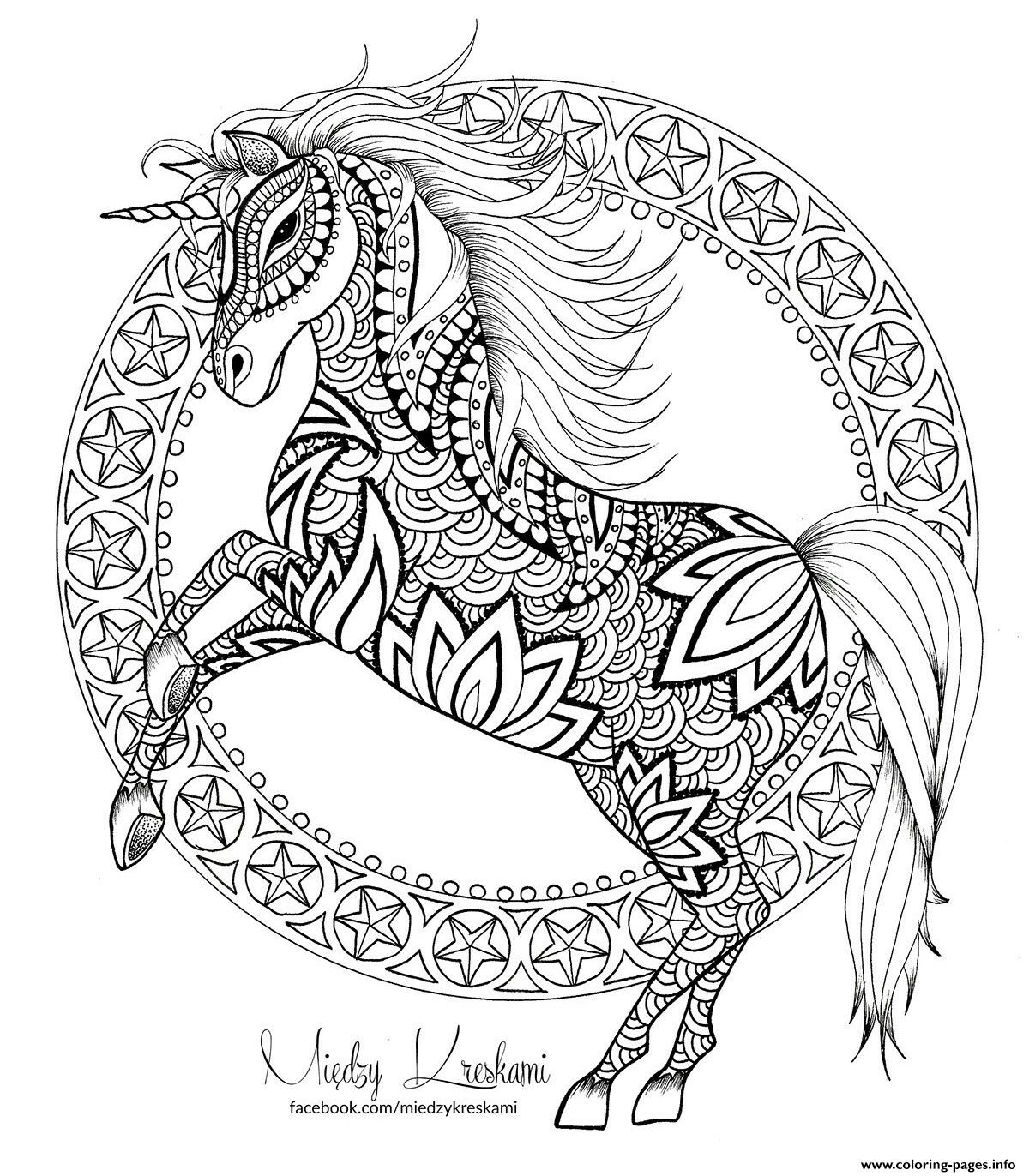 Mandala unicorn adult 2018 coloring pages printable