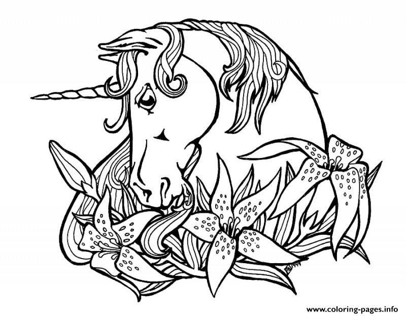 Sweet Outline Unicorn And Lily Flowers Tattoo Design Coloring Pages