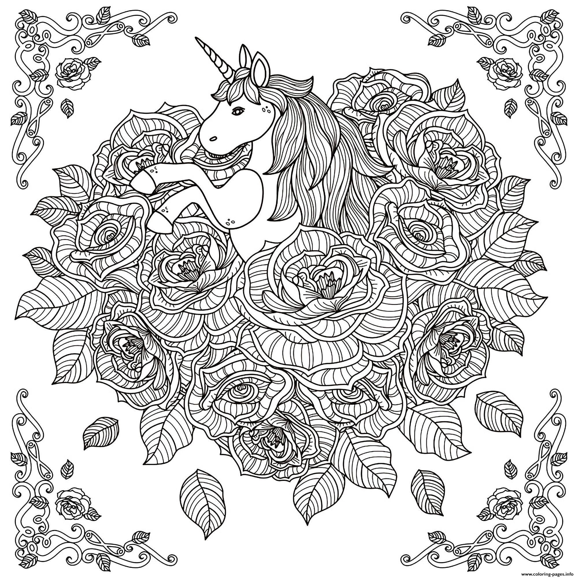 Unicorn Adult By Kchung coloring pages