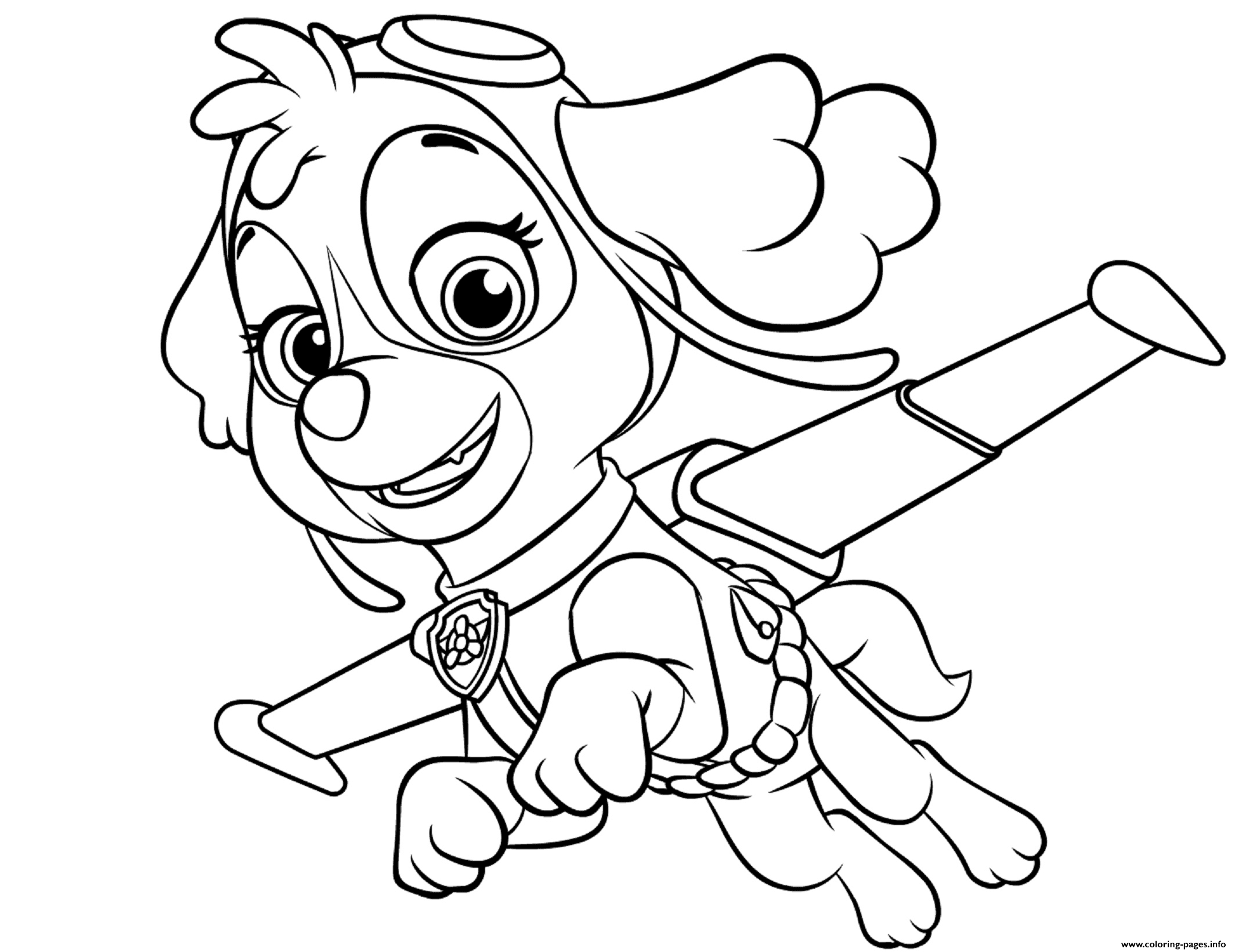 Skye Flying Paw Patrol Coloring Pages Printable