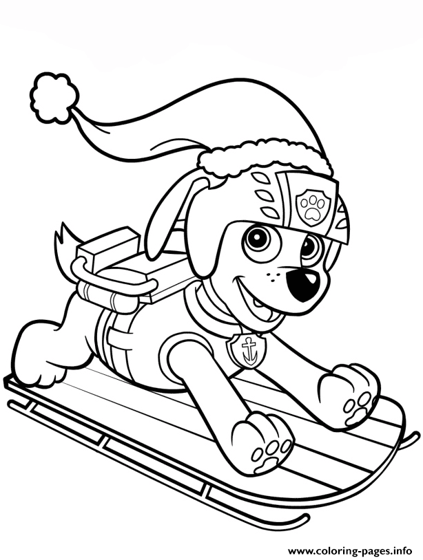 Zuma On Sled Paw Patrol coloring pages