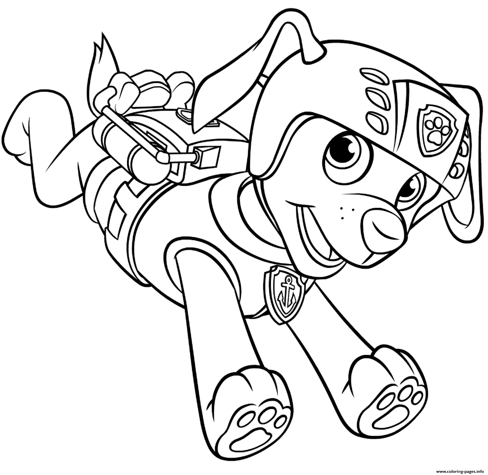 Zuma With Scuba Gear Backpack Paw Patrol coloring pages
