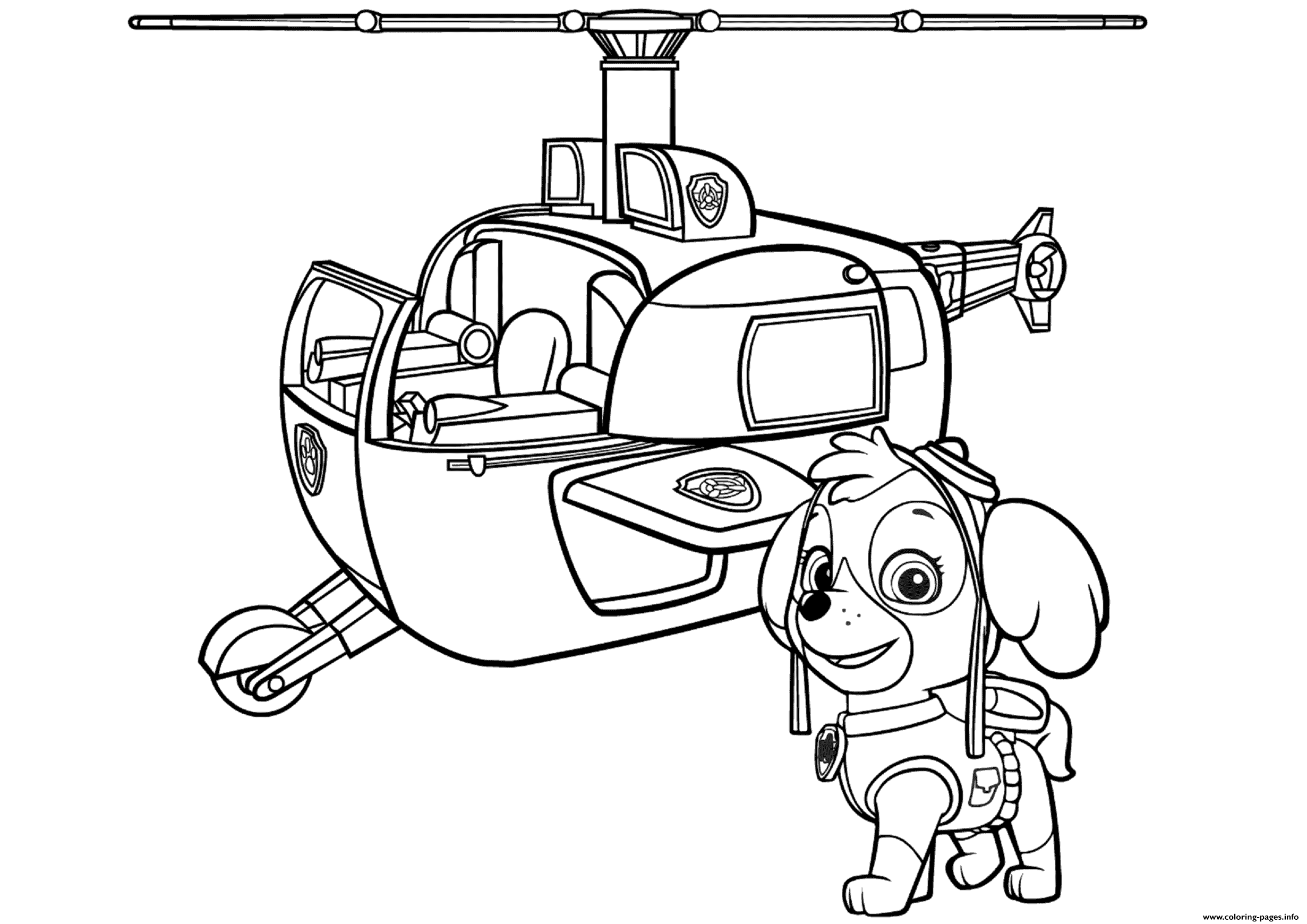 Paw Patrol Skyes Helicopter Paw Patrol coloring pages