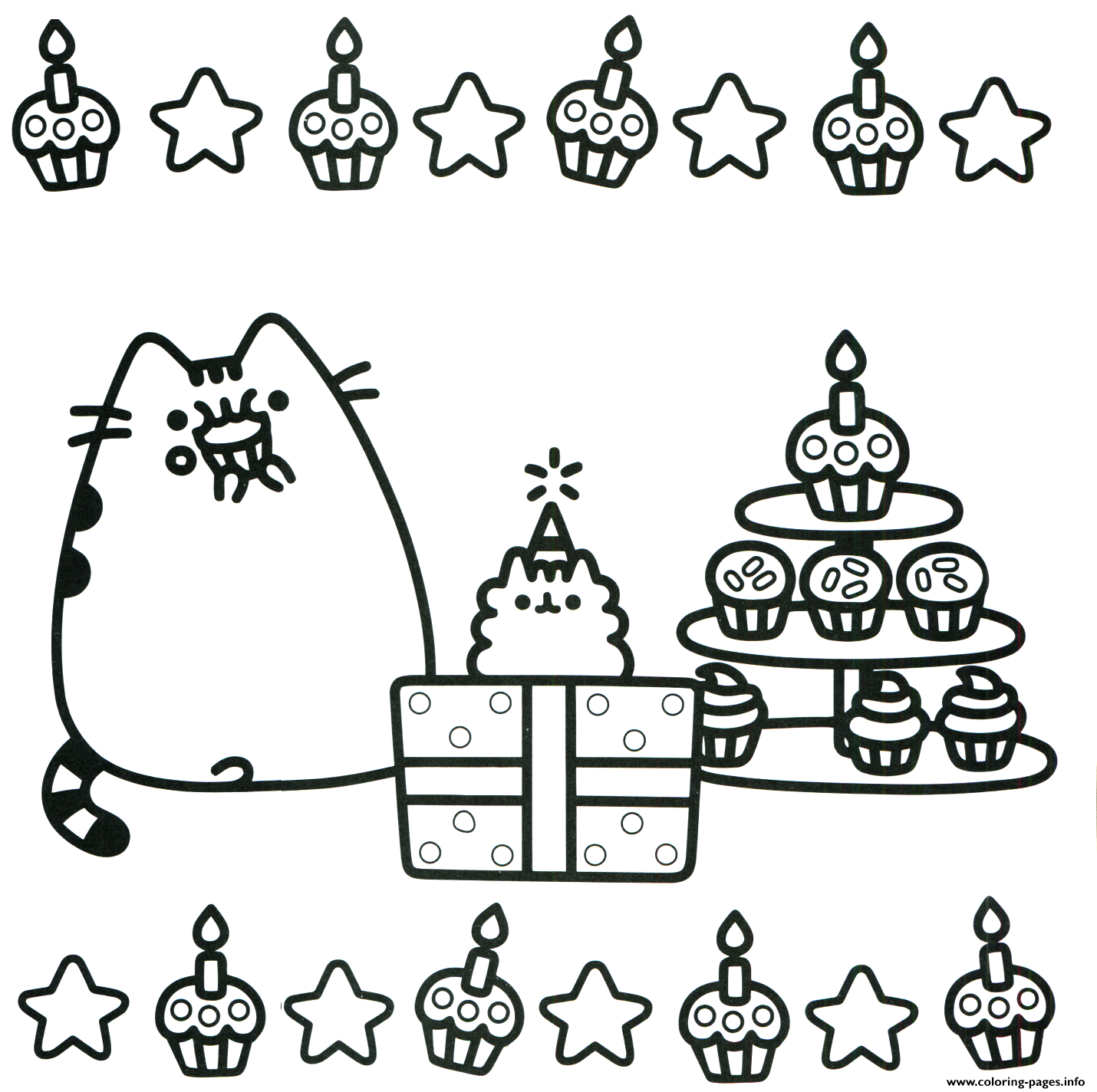 Pusheen Cake Birthday Coloring Pages Printable