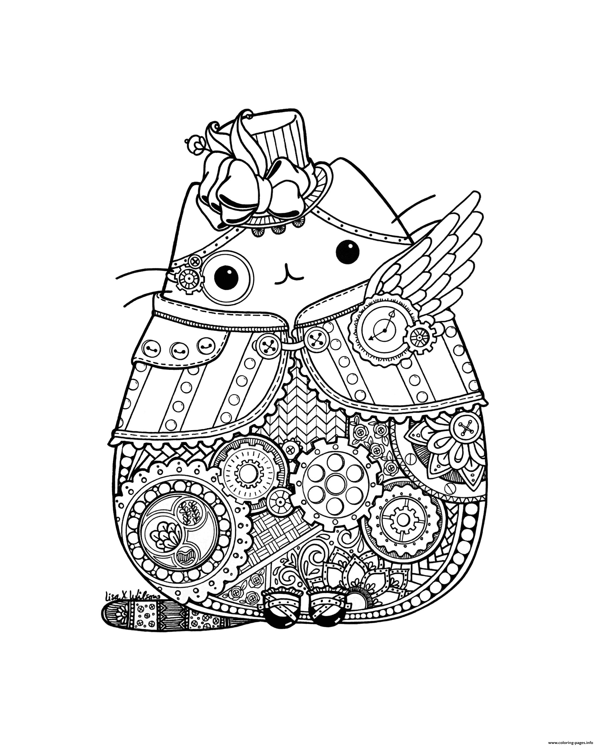 picture regarding Pusheen Printable called Steampunk Pusheen Coloring Webpages Printable