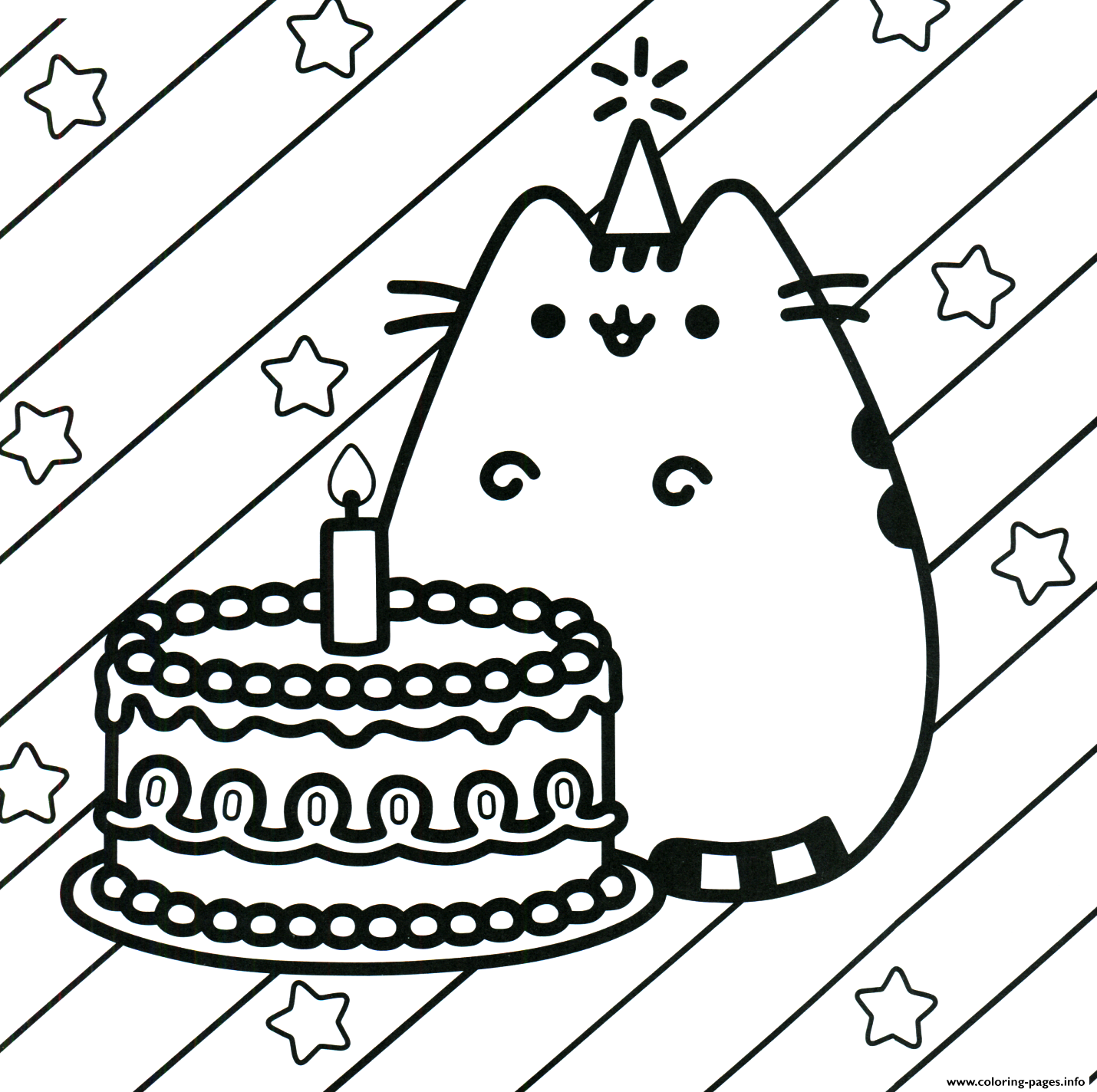image about Printable Happy Birthday Coloring Pages named Pusheen Cake Content Birthday Coloring Webpages Printable