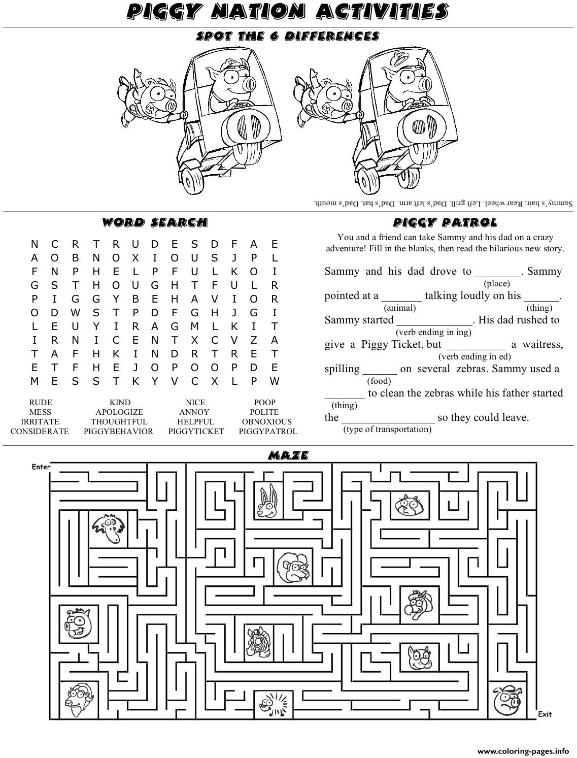 Piggy Nation Activity Sheet Front Coloring Pages Printable