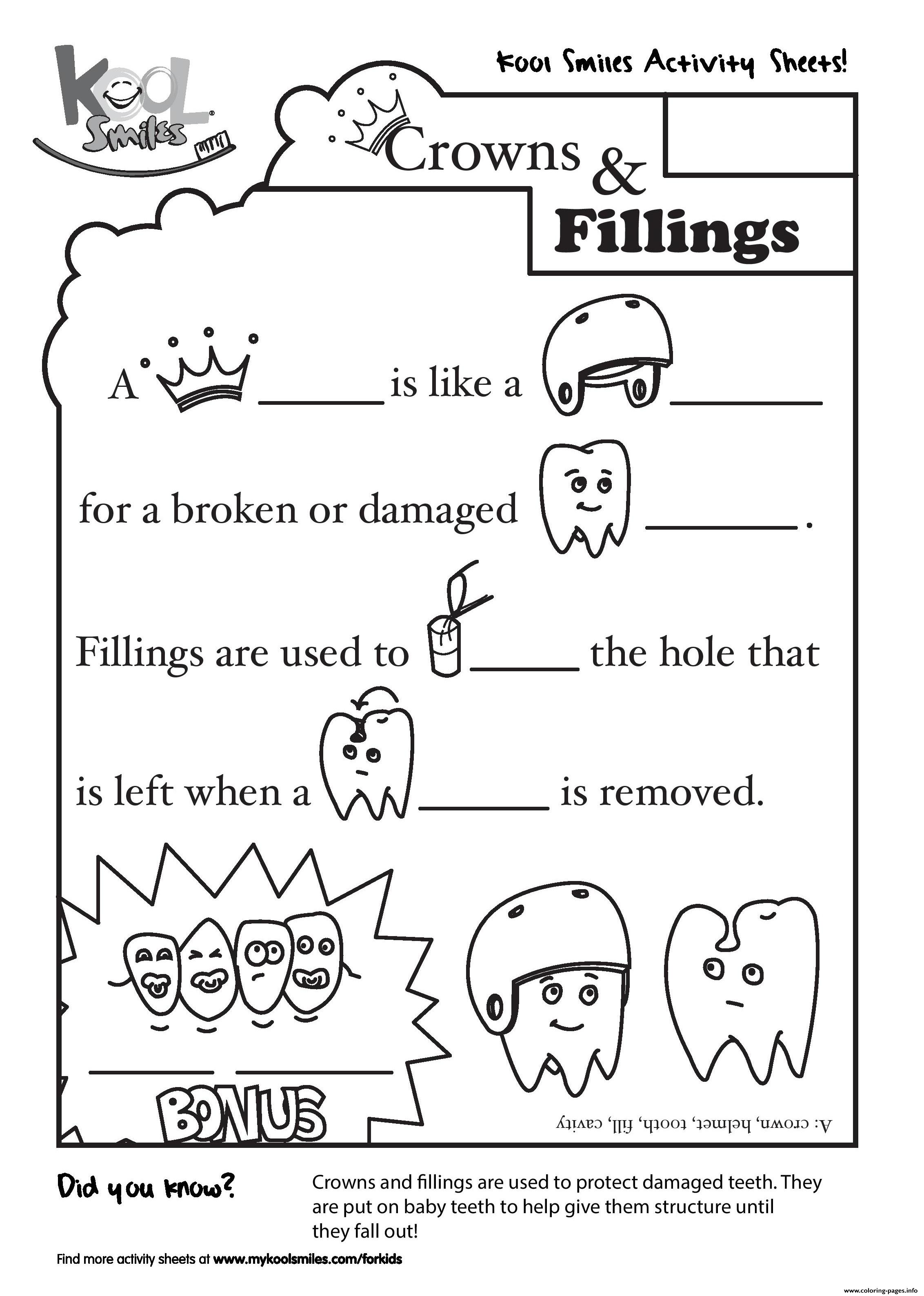 kool coloring pages Kool Smiles Crowns And Fillings Activity Sheet Coloring Pages  kool coloring pages