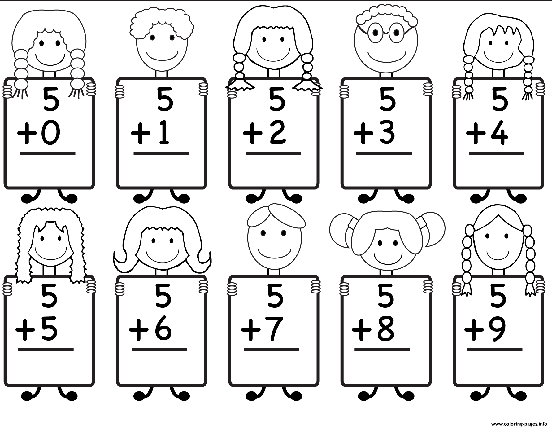 Addition Kindergarten Math Worksheet Coloring Pages Printable