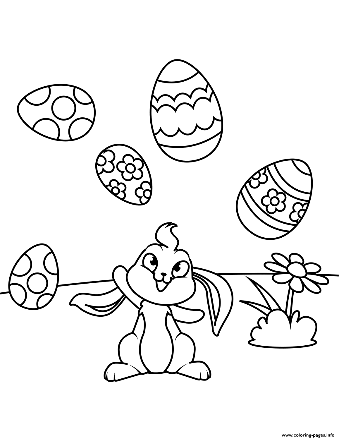 Cute Bunny Juggling Easter Eggs Coloring Pages Printable