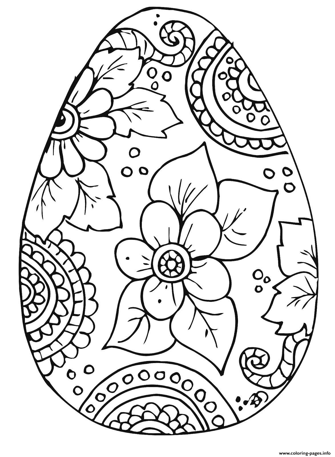 - Beautiful Easter Egg With Flowers For Adult Coloring Pages Printable