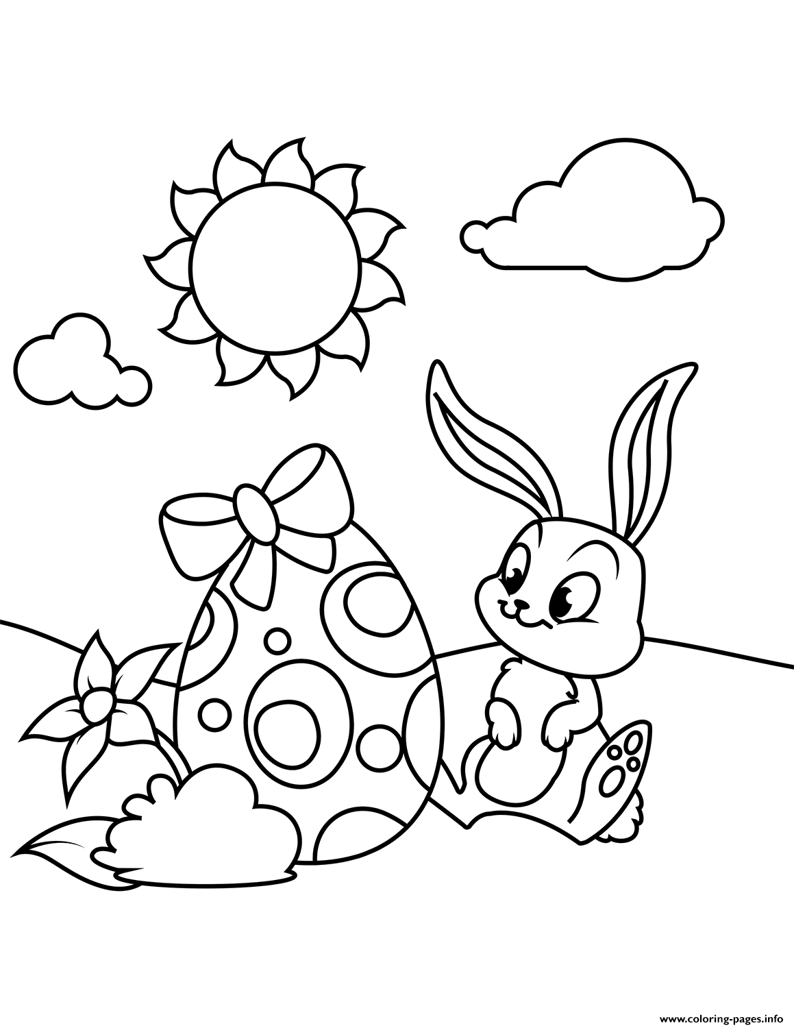 Cute Bunny And Easter Egg Coloring Pages Printable