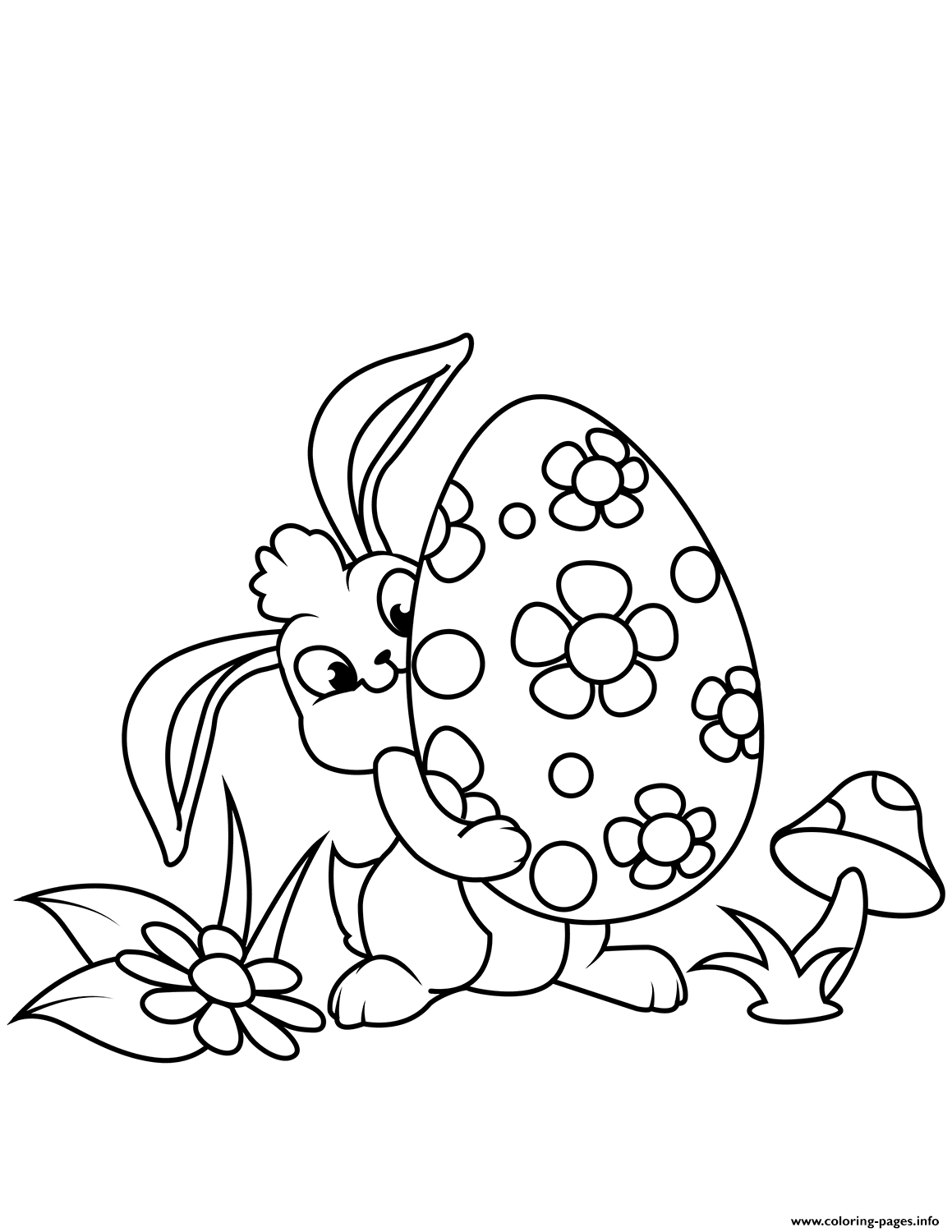 Cute Easter Bunny And Egg Coloring Pages Printable