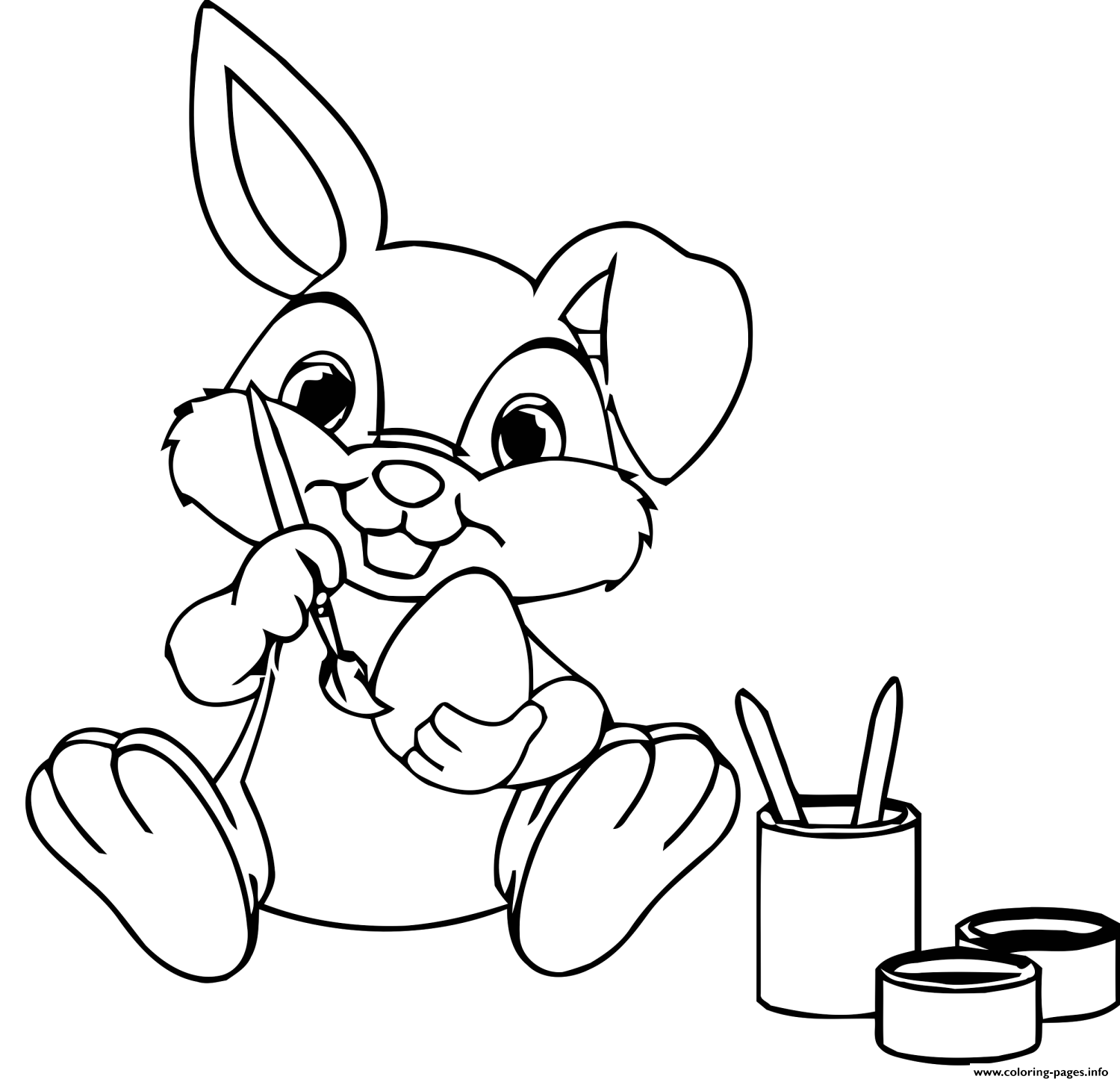 Easter Bunny Paint Eggs Coloring Pages Printable
