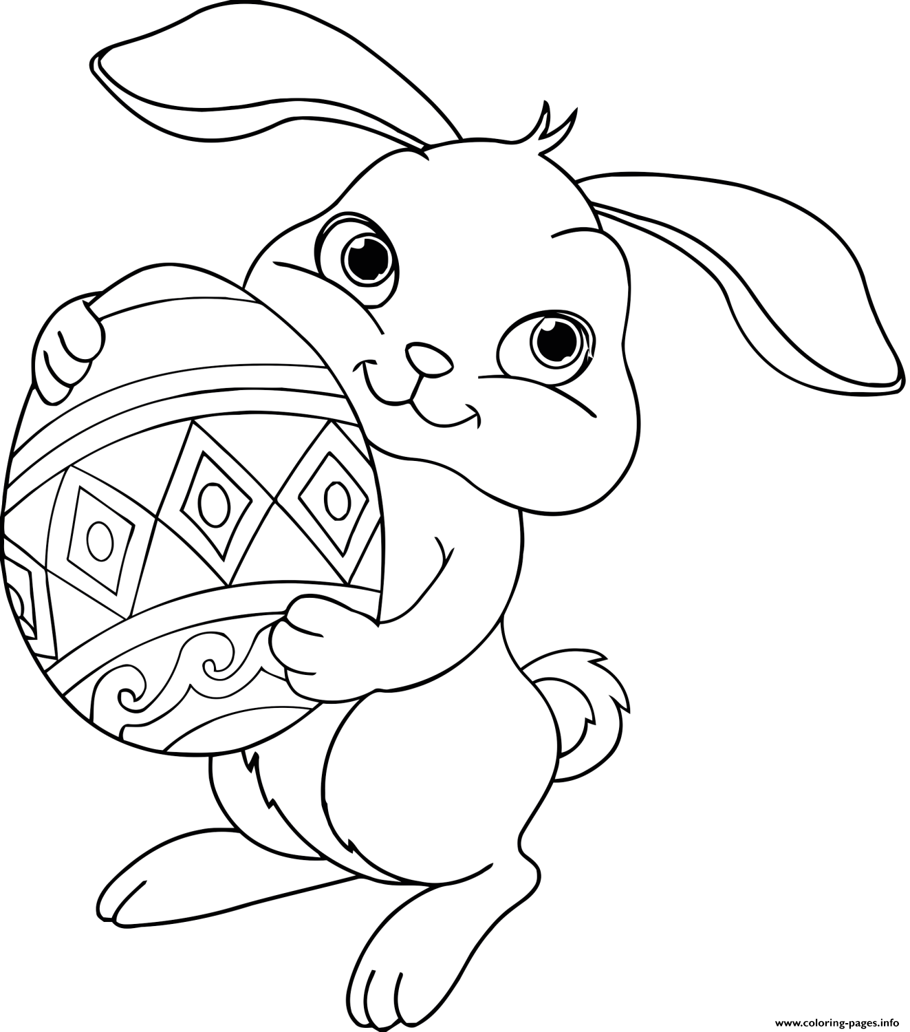 Easter Bunny Eggs Coloring Pages Printable