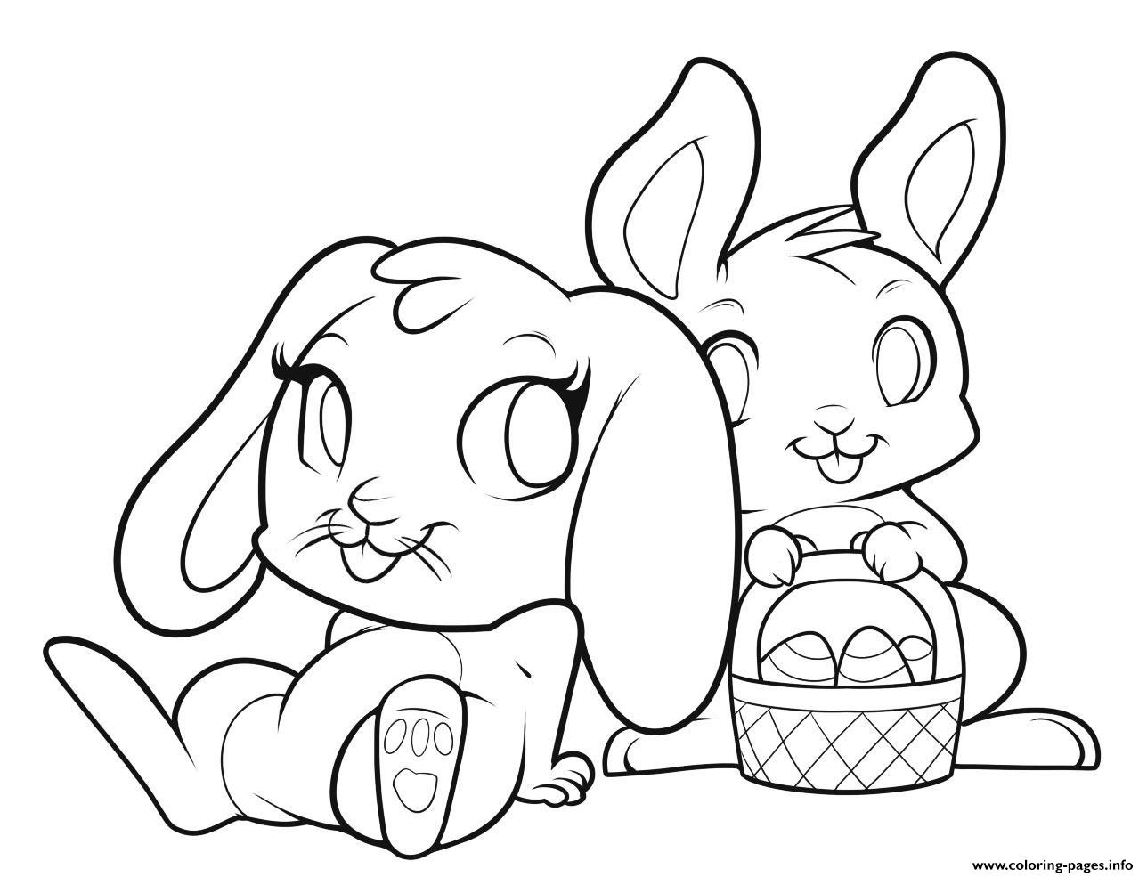 Easter Bunnies Cute Bunny Coloring Pages Printable
