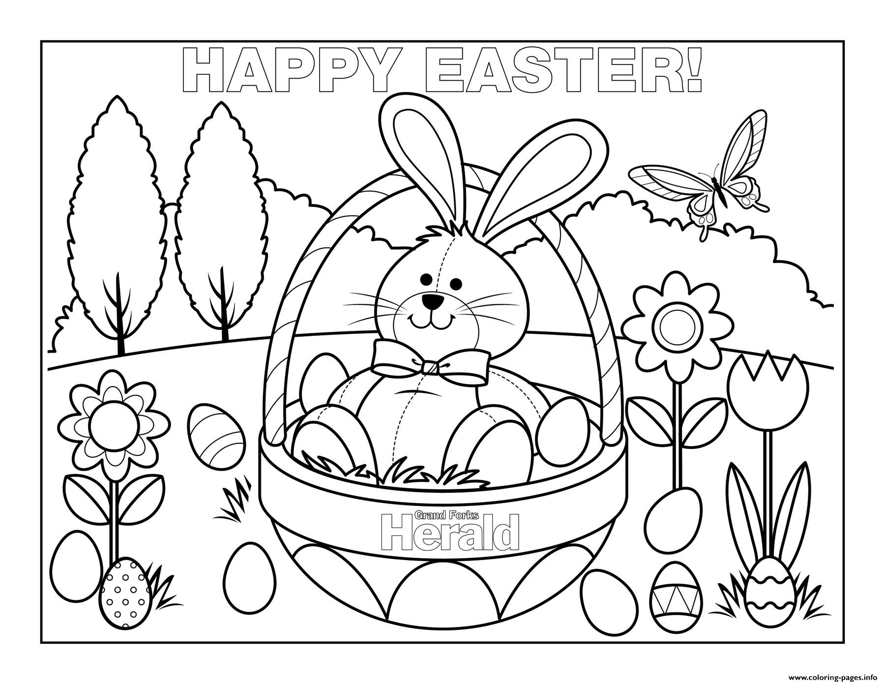 Happy easter cute bunny rabbit eggs coloring pages printable