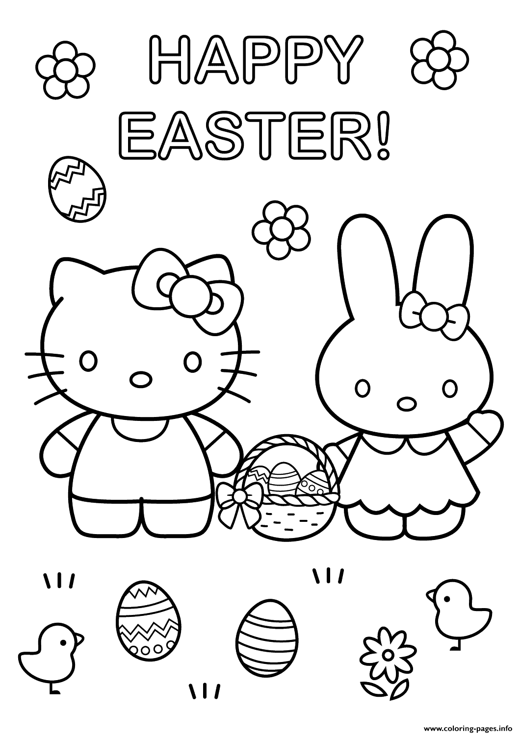 Hello Kitty With Easter Bunny Coloring