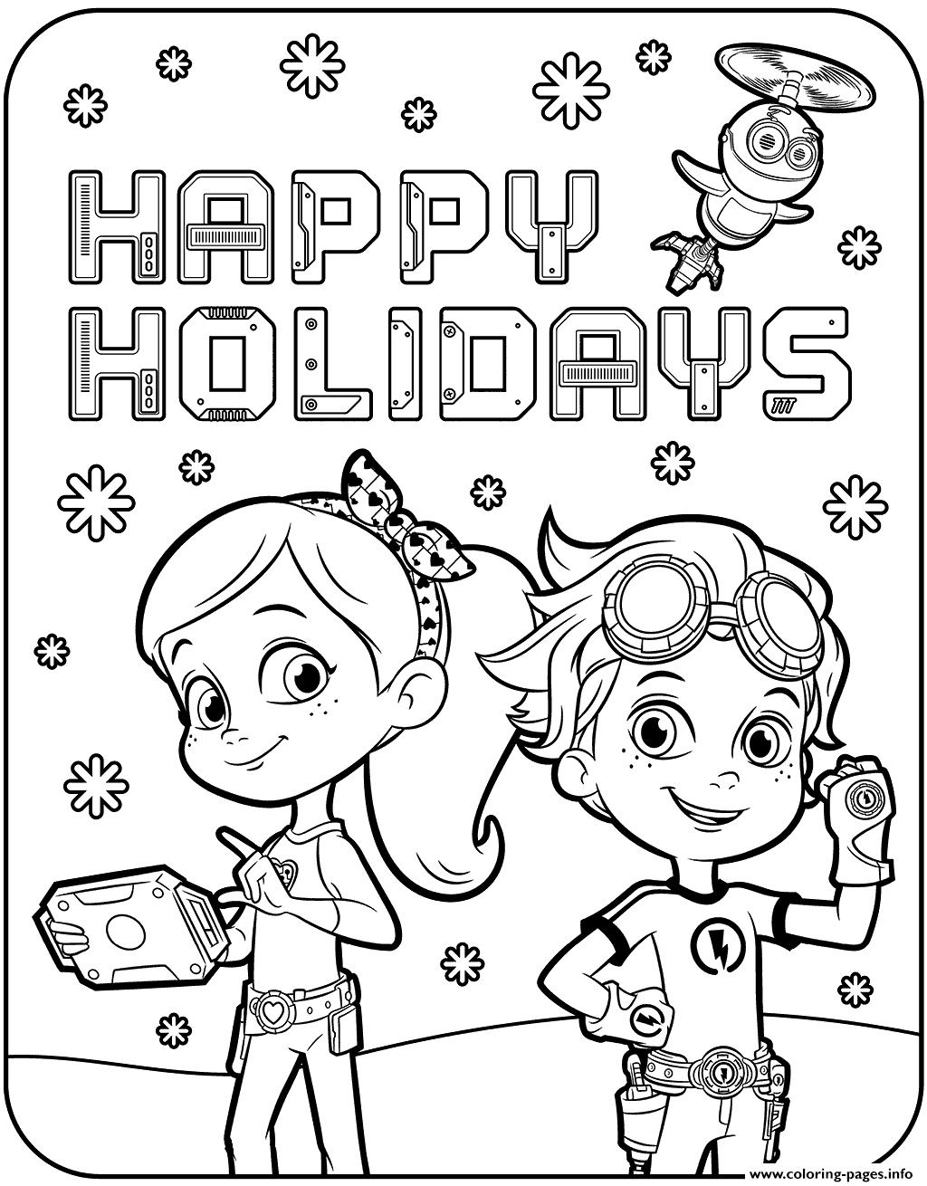 Happy holidays with rusty rivets coloring pages printable
