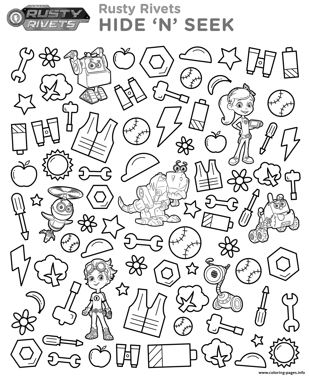 Rusty Rivets Hide And Seek coloring pages