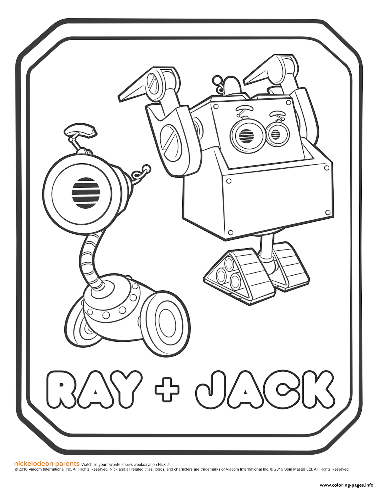 Rusty Rivets Ray And Jack Coloring Page Coloring Pages Printable