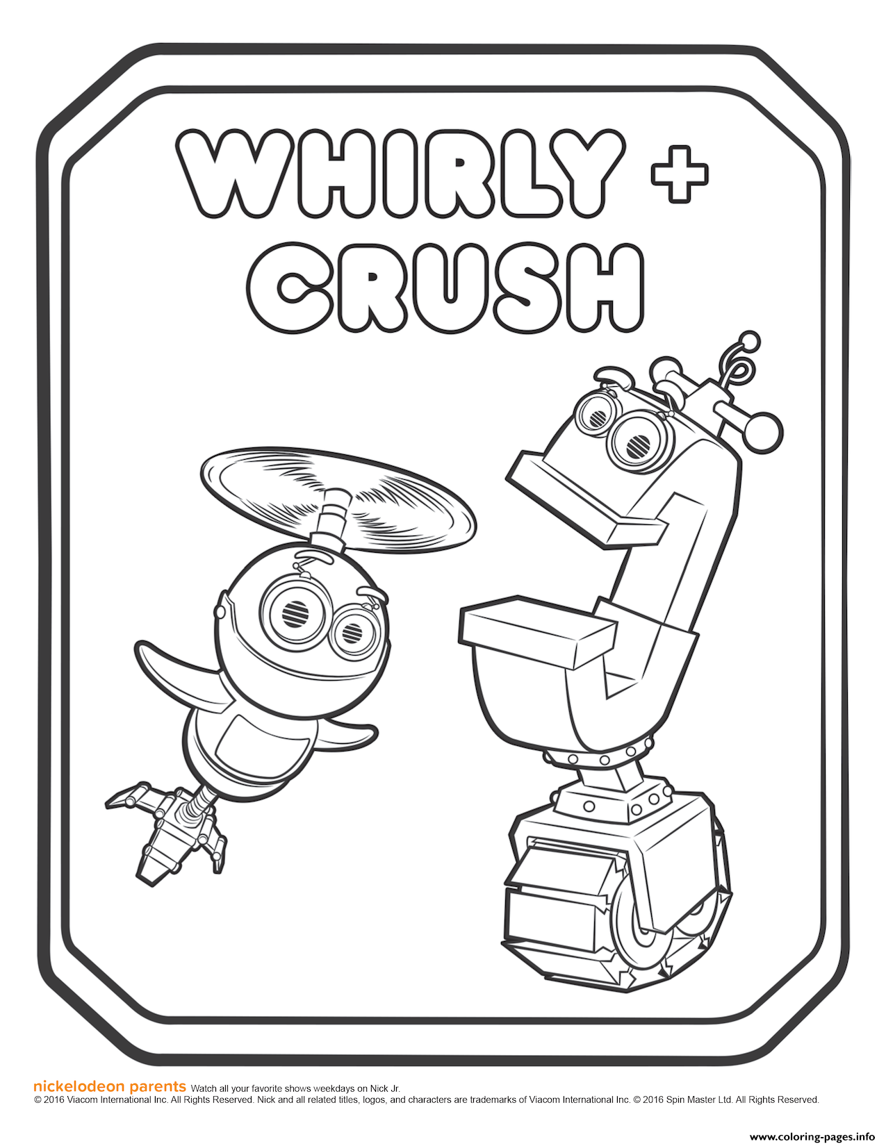 Rusty Rivets Whirly And Crush Coloring Page coloring pages