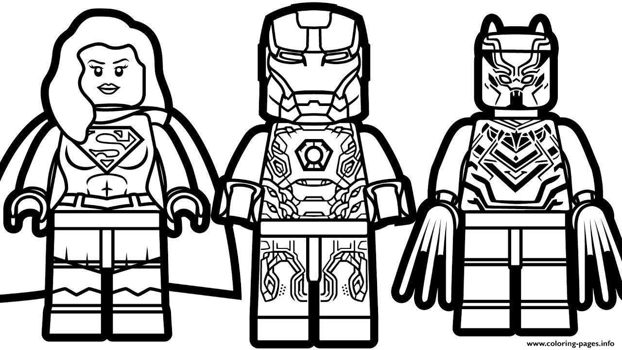 Lego Iron Man Supergirl Black Panther Coloring Pages Printable