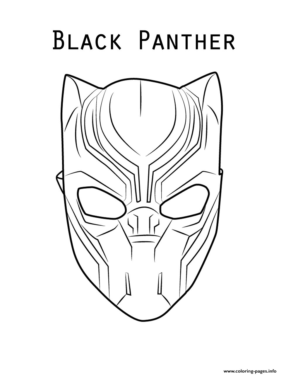 Marvel Movie Black Panther Mask Coloring Pages Printable