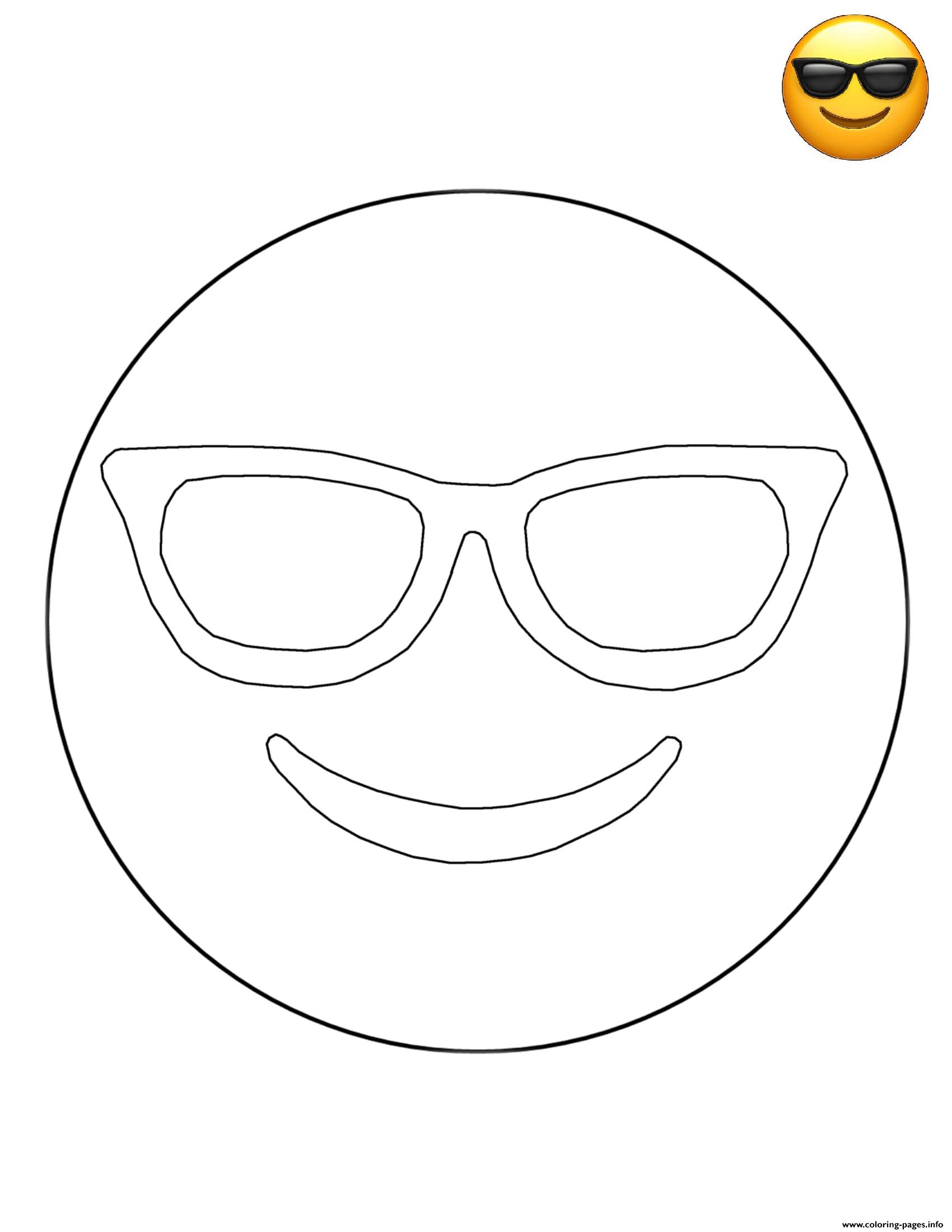 Emoji Sunglasses Free Sheets Coloring Pages Printable