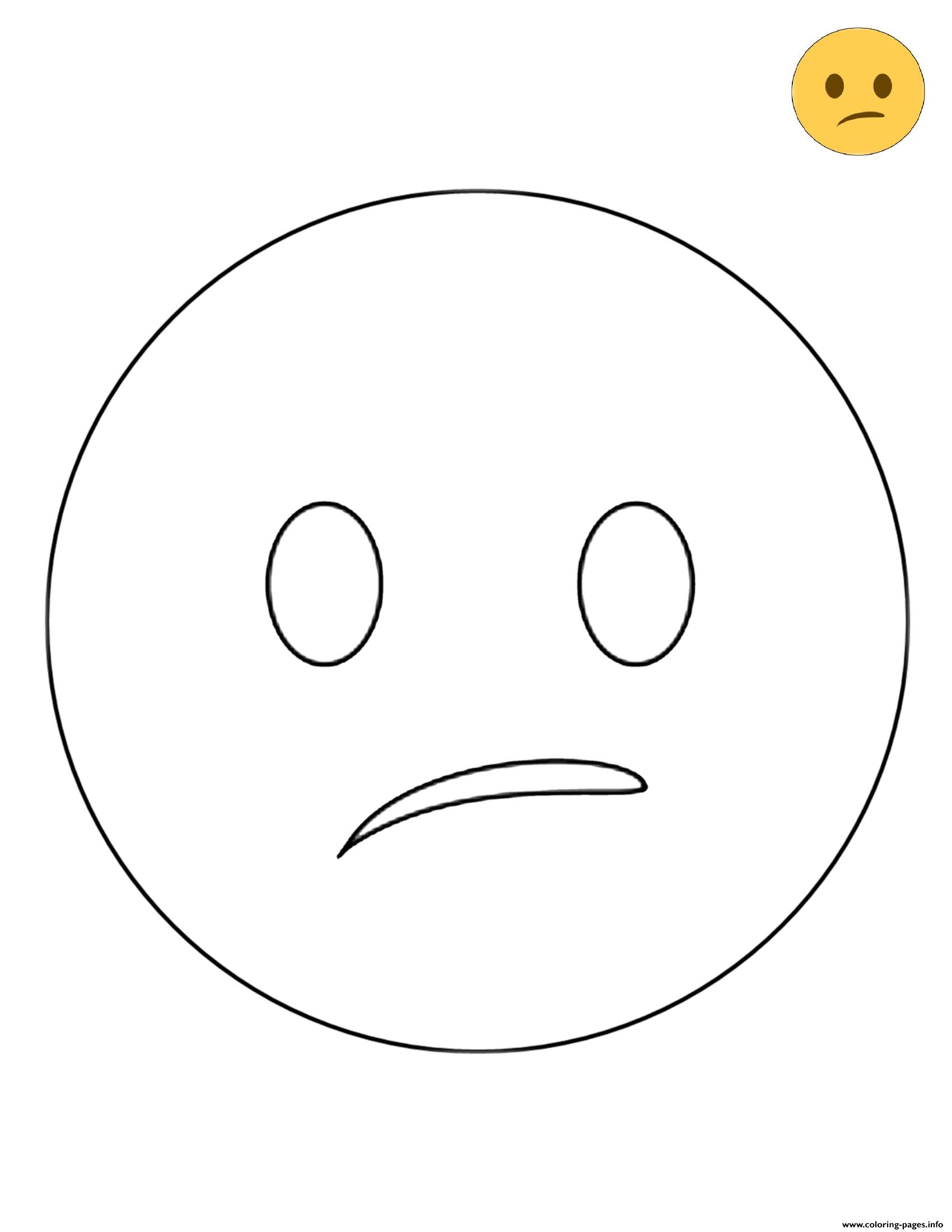 Twitter Confused Face Emoji Coloring Pages Printable